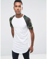 Jack & Jones | White Longline T-shirt With Camo Raglan Sleeves And Curved Hem for Men | Lyst