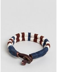 Jack & Jones - Blue Cotton Leather Woven Bracelet for Men - Lyst