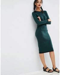 ASOS - Green Ribbed Midi Dress With Tipping Detail - Lyst
