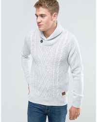 Threadbare - White Shawl Neck Cable Knit Jumper for Men - Lyst