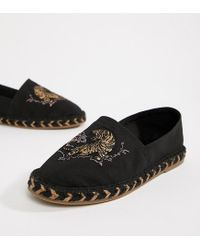 ASOS - Wide Fit Black Espadrilles In Black With Tiger Embroidery for Men - Lyst