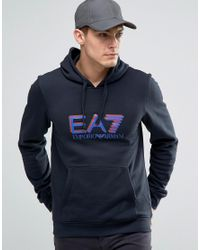 EA7 | Blue Emporio Armani Hoodie With Shadow Logo In Navy for Men | Lyst