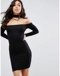 7321cbaf98db Women's Black Long Sleeve Off The Shoulder Bardot Mini Bodycon Dress ...