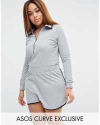 ASOS | Gray Nepi Playsuit With Zip And Contrast Binding | Lyst