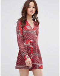 Girl In Mind - Red Sophia Printed Long Sleeve Playsuit - Lyst