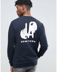 ASOS - Blue Oversized Longline Sweatshirt With Back & Chest Print for Men - Lyst