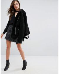New Look | Black Choker Neck Wrap Blouse | Lyst
