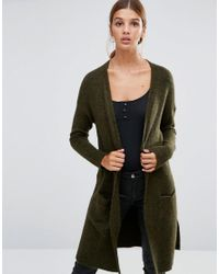 New Look   Green Fine Knit Cardigan   Lyst