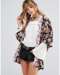 Band Of Gypsies | Black Floral Kimono | Lyst