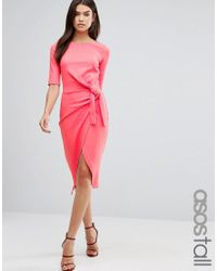 ASOS | Red Pencil Dress With Knot Front Detail | Lyst