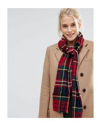 Johnstons - Red Merino Wool Check Scarf In Navy Check - Lyst