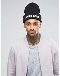 ASOS - Black Beanie With Squad Goals Embroidered Slogan for Men - Lyst