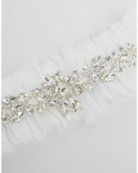 ASOS - White Bridal Diamonte & Tulle Garter - Lyst