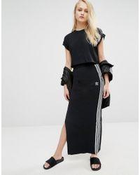 2cbd1997c8e2 Lyst - adidas Originals Maxi Skirt With 3 Stripes in Black