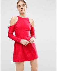 ASOS | Red Cold Shoulder Mini Dress With Long Sleeves | Lyst
