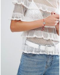 Dogeared - Metallic Sterling Silver Balance Mandala On Red Silk Adjustable Bracelet - Lyst