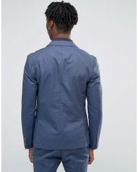 SELECTED - Blue Cotton Blazer for Men - Lyst