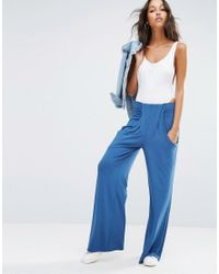 ASOS | Blue Slouch Wide Leg Trousers With Drop Pockets | Lyst
