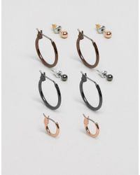 ASOS - Multicolor Hoop And Stud Pack In Mixed Finish - Lyst