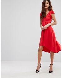 Be Jealous - Red Skater Prom Midi Dress With Hi Lo Hem - Lyst