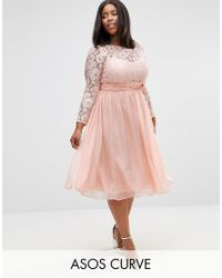 ASOS | Pink Wedding Midi Dress With Lace And Bow Detail | Lyst