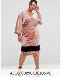 ASOS | Pink Premium Velvet Contrast Midi Dress With Kimono Sleeve | Lyst