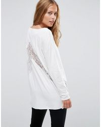 ASOS   Red Top With Lace Panels And Long Sleeve In Oversized Fit   Lyst