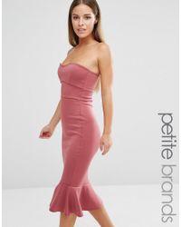 9dc24469f5 Lyst - Boohoo Midi Frill Hem Bodycon Dress in Pink