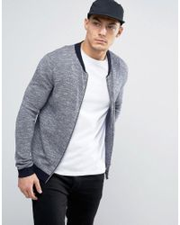 ASOS | Blue Knitted Bomber Jacket With Contrast Design In Navy for Men | Lyst