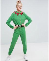 ASOS | Green Holidays Elf Onesie In Fleece | Lyst