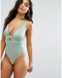 ASOS | Green Fuller Bust Exclusive Deep Plunge Swimsuit Dd-g | Lyst