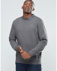 PUMA - Gray High Neck Sweat With Embroided Logo for Men - Lyst