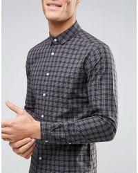 ASOS | Black Skinny Check Shirt for Men | Lyst