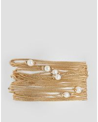 ASOS | Metallic Fine Chain And Faux Pearl Multirow Bracelet | Lyst
