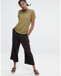Monki - Green Crew Neck T-shirt - Lyst