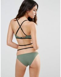 ASOS - Green Elastic Harness Contrast Triangle Bikini Top - Lyst