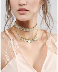 ASOS | Metallic Double Row Cut Out Choker Necklace | Lyst