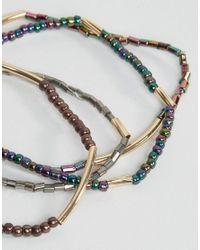 ASOS - Multicolor Pack Of 4 Iridescent Stretch Bead Friendship Bracelets - Lyst