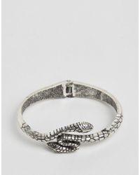 ASOS - Metallic Snake Open Cuff Bracelet - Lyst