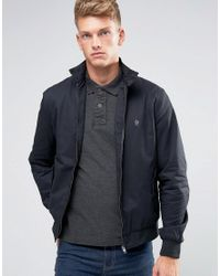 French Connection   Blue Harrington Jacket With Contrast Check Lining for Men   Lyst