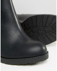 Pull&Bear - Black Pull On Boot With Patent Detail - Lyst