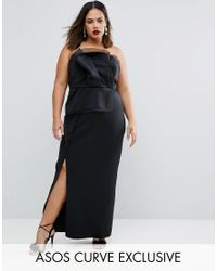 ASOS | Black Red Carpet Organza Bandeau Maxi Dress | Lyst