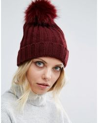 Missguided Faux Fur Pom Pom Beanie Hat - Burgundy in Red - Lyst 52cc2b5057d2