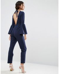 ASOS | Blue Jumpsuit With Bell Sleeves And Cut Out Back | Lyst