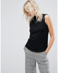 ASOS   Black Top With High Neck In Ponte   Lyst