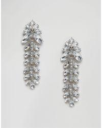 ASOS | Metallic Occasion Jewel Drop Strand Earrings - Clear | Lyst