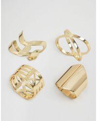 Glamorous - Metallic Crossover Ring Layering Pack - Lyst