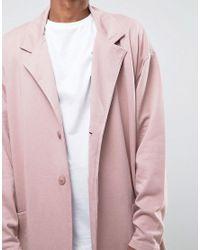 ASOS - Oversized Longline Jersey Duster Coat In Pink for Men - Lyst