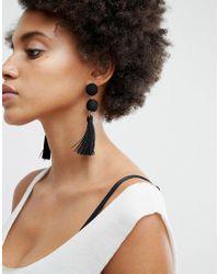 ASOS DESIGN - Black Wrapped Bead & Tassel Earrings - Lyst
