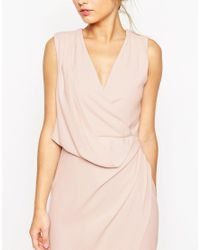 ASOS - Wedding Wrap Drape Midi Dress - Red - Lyst